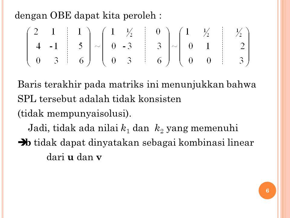 6 dengan OBE dapat kita peroleh : Baris terakhir pada matriks ini menunjukkan bahwa SPL tersebut adalah tidak konsisten (tidak mempunyaisolusi). Jadi,