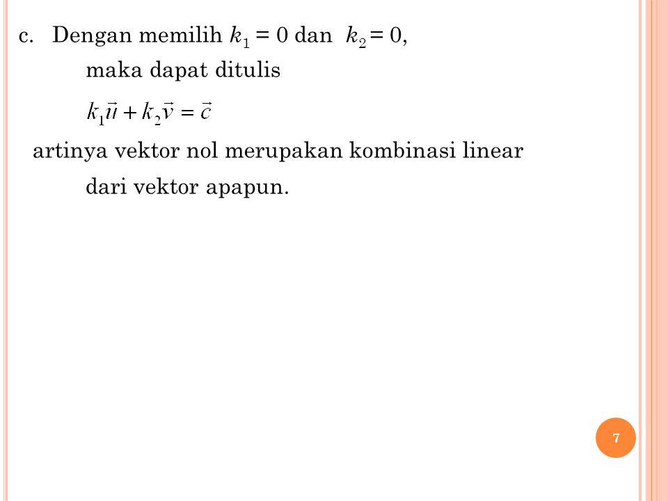 18 dengan menyamakan setiap unsur pada kedua matriks, diperoleh SPL : Determinan matriks koefisiennya (MK) = 48 det (MK)  0  SPL memiliki solusi untuk sebarang nilai a,b,c,d, Jadi, M membangun M2 x 2 Ketika a = 0, b = 0, c = 0, d = 0, det (MK)  0  SPL homogen punya solusi tunggal.