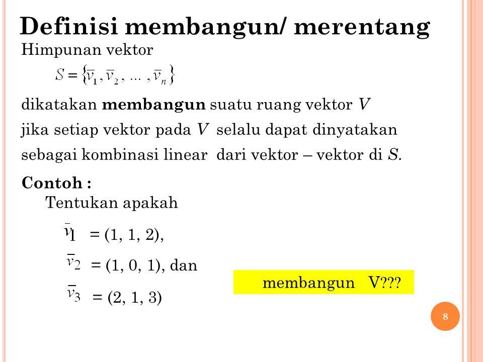 8 Himpunan vektor dikatakan membangun suatu ruang vektor V jika setiap vektor pada V selalu dapat dinyatakan sebagai kombinasi linear dari vektor – ve