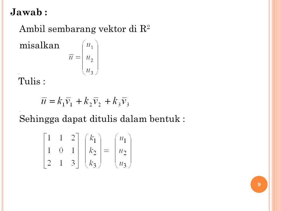 10 Syarat agar dapat dikatakan kombinasi linear SPL tersebut harus mempunyai solusi (konsisten) Dengan OBE diperoleh : haruslah u 3 – u 2 – u 1 = 0Agar SPL itu konsisten Ini kontradiksi dengan pengambilan vektor sembarang (unsur – unsurnya bebas, tak bersyarat) Dengan demikian vektor – vektor tersebut tidak membangun R 3