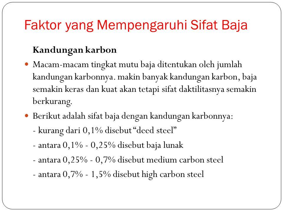 Faktor yang Mempengaruhi Sifat Baja Kandungan karbon Macam-macam tingkat mutu baja ditentukan oleh jumlah kandungan karbonnya. makin banyak kandungan
