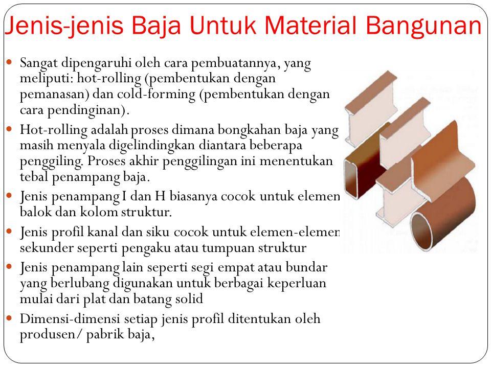 Jenis-jenis Baja Untuk Material Bangunan Sangat dipengaruhi oleh cara pembuatannya, yang meliputi: hot-rolling (pembentukan dengan pemanasan) dan cold