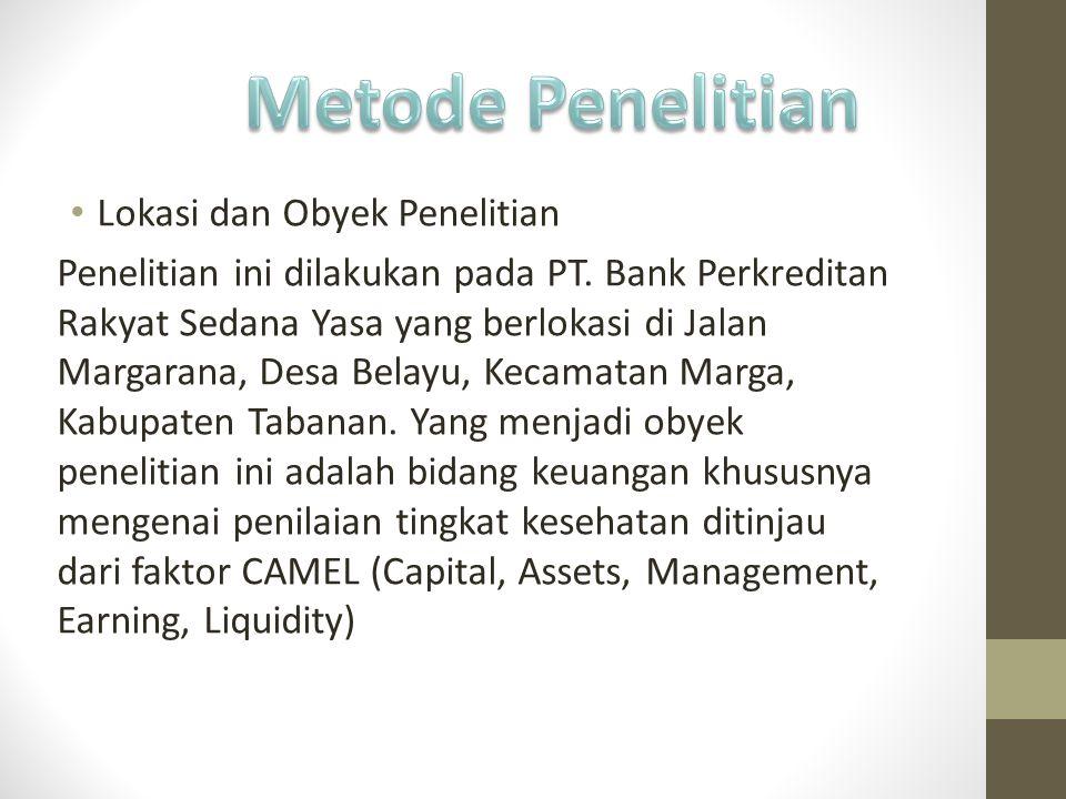Lokasi dan Obyek Penelitian Penelitian ini dilakukan pada PT. Bank Perkreditan Rakyat Sedana Yasa yang berlokasi di Jalan Margarana, Desa Belayu, Keca
