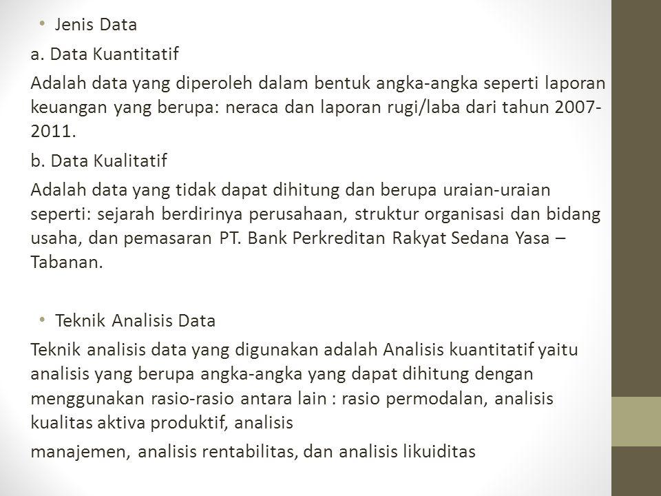 Jenis Data a. Data Kuantitatif Adalah data yang diperoleh dalam bentuk angka-angka seperti laporan keuangan yang berupa: neraca dan laporan rugi/laba