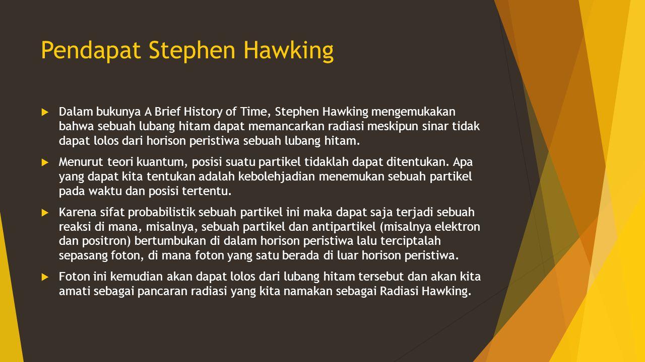 Pendapat Stephen Hawking  Dalam bukunya A Brief History of Time, Stephen Hawking mengemukakan bahwa sebuah lubang hitam dapat memancarkan radiasi mes