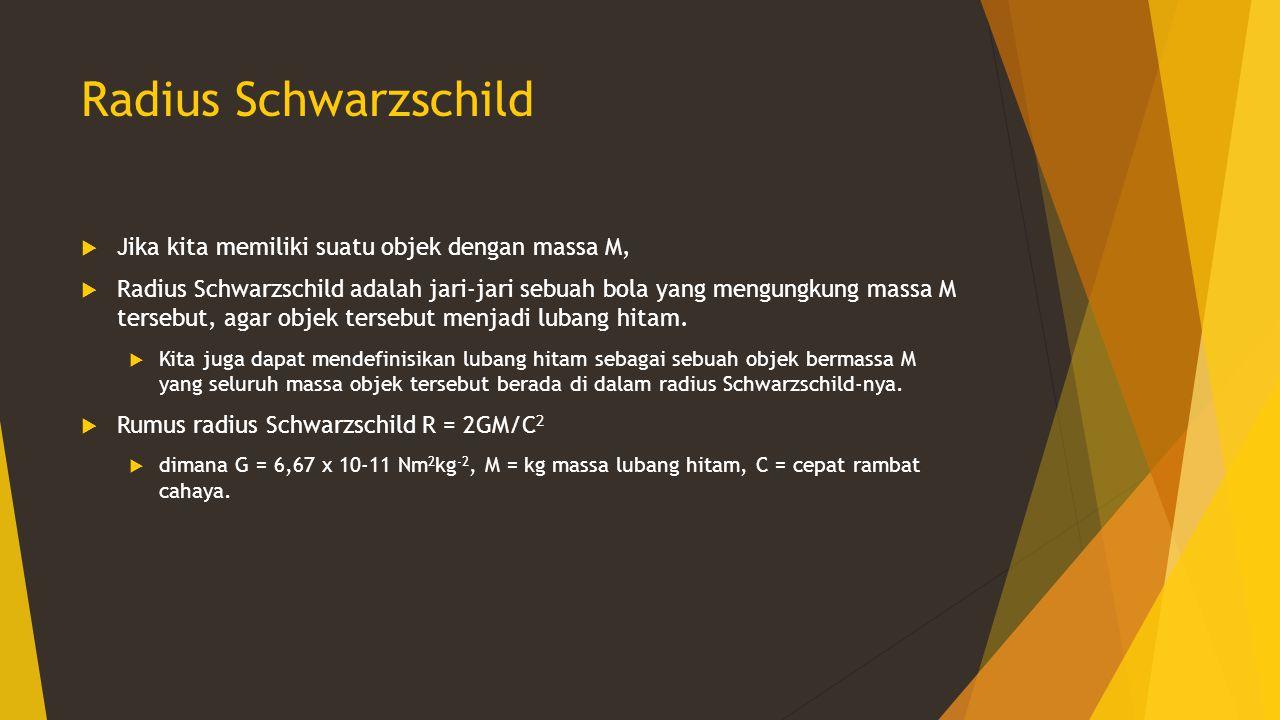Radius Schwarzschild  Jika kita memiliki suatu objek dengan massa M,  Radius Schwarzschild adalah jari-jari sebuah bola yang mengungkung massa M ter