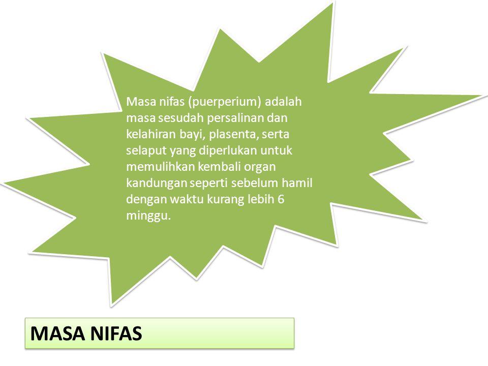 MASA NIFAS Masa nifas (puerperium) adalah masa sesudah persalinan dan kelahiran bayi, plasenta, serta selaput yang diperlukan untuk memulihkan kembali