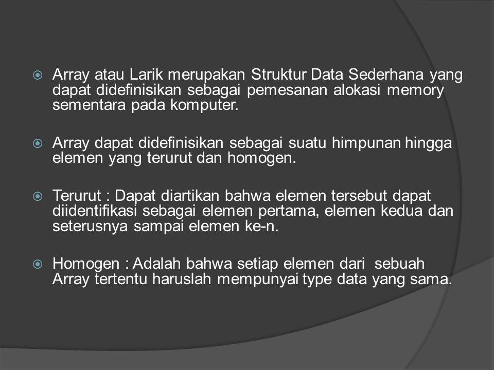  Array atau Larik merupakan Struktur Data Sederhana yang dapat didefinisikan sebagai pemesanan alokasi memory sementara pada komputer.  Array dapat