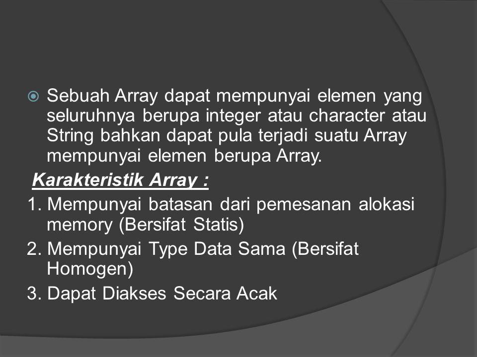  Sebuah Array dapat mempunyai elemen yang seluruhnya berupa integer atau character atau String bahkan dapat pula terjadi suatu Array mempunyai elemen