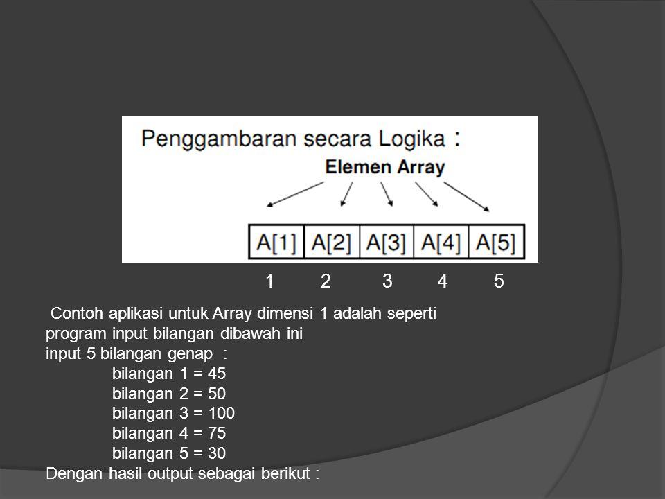 1 2 3 4 5 Contoh aplikasi untuk Array dimensi 1 adalah seperti program input bilangan dibawah ini input 5 bilangan genap : bilangan 1 = 45 bilangan 2