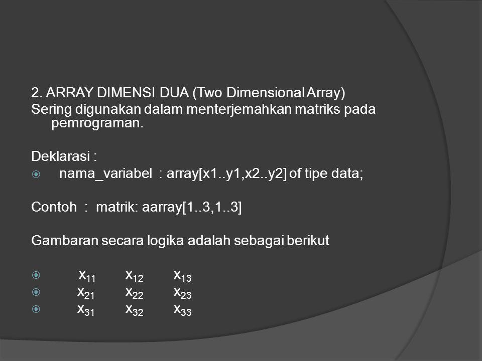 2. ARRAY DIMENSI DUA (Two Dimensional Array) Sering digunakan dalam menterjemahkan matriks pada pemrograman. Deklarasi :  nama_variabel : array[x1..y