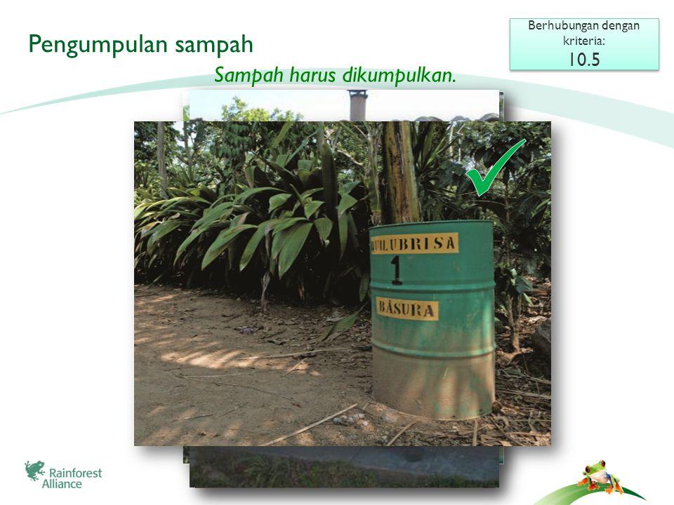 Dipagari untuk keamanan Penampungan sampah Berhubungan dengan kriteria: 10.3 Berhubungan dengan kriteria: 10.3 Tempat penampungan harus terletak jauh dari sumber air, dan tidak terbuka serta tidak menampung air hujan.