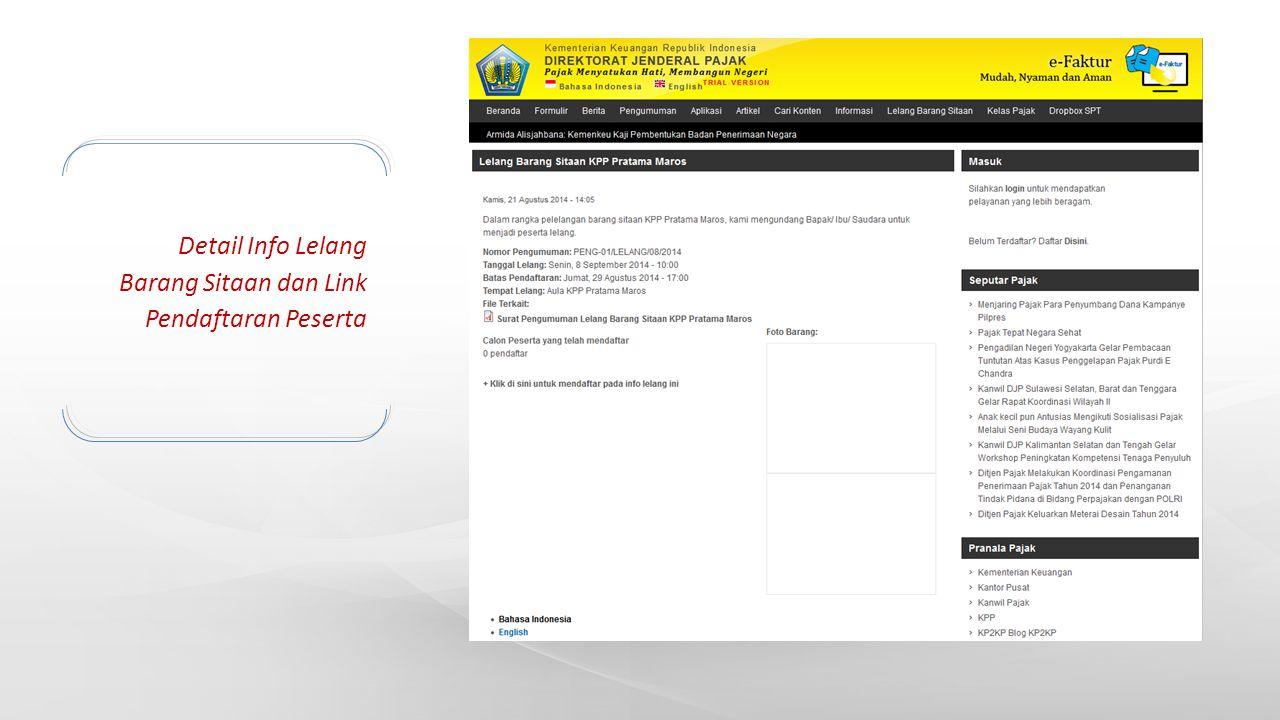Detail Info Lelang Barang Sitaan dan Link Pendaftaran Peserta