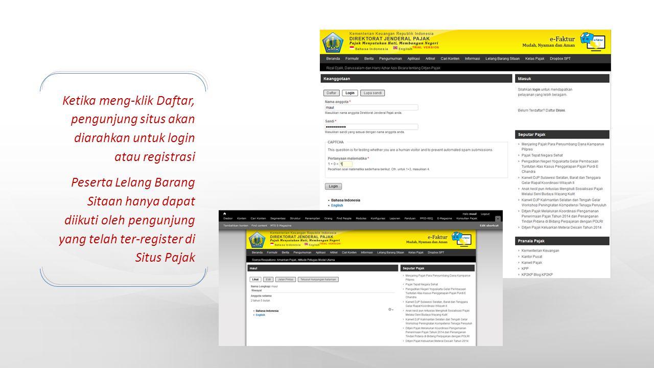 Ketika meng-klik Daftar, pengunjung situs akan diarahkan untuk login atau registrasi Peserta Lelang Barang Sitaan hanya dapat diikuti oleh pengunjung