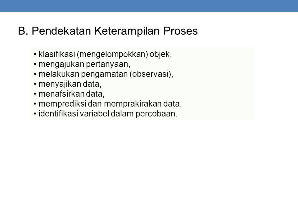 B. Pendekatan Keterampilan Proses klasifikasi (mengelompokkan) objek, mengajukan pertanyaan, melakukan pengamatan (observasi), menyajikan data, menafs