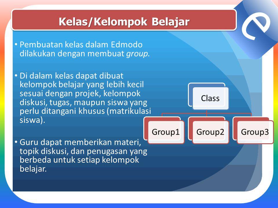Kelas/Kelompok Belajar Pembuatan kelas dalam Edmodo dilakukan dengan membuat group. Di dalam kelas dapat dibuat kelompok belajar yang lebih kecil sesu