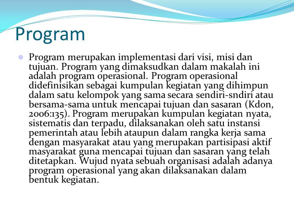 Program Program merupakan implementasi dari visi, misi dan tujuan. Program yang dimaksudkan dalam makalah ini adalah program operasional. Program oper