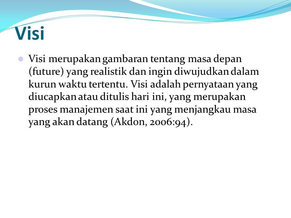 Hax dan Majluf dalam Akdon (2006:95) menyatakan bahwa visi adalah pernyataan yang merupakan sarana untuk: 1.