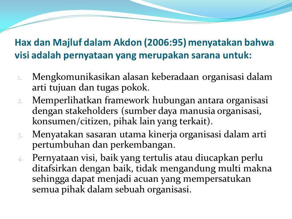 Hax dan Majluf dalam Akdon (2006:95) menyatakan bahwa visi adalah pernyataan yang merupakan sarana untuk: 1. Mengkomunikasikan alasan keberadaan organ