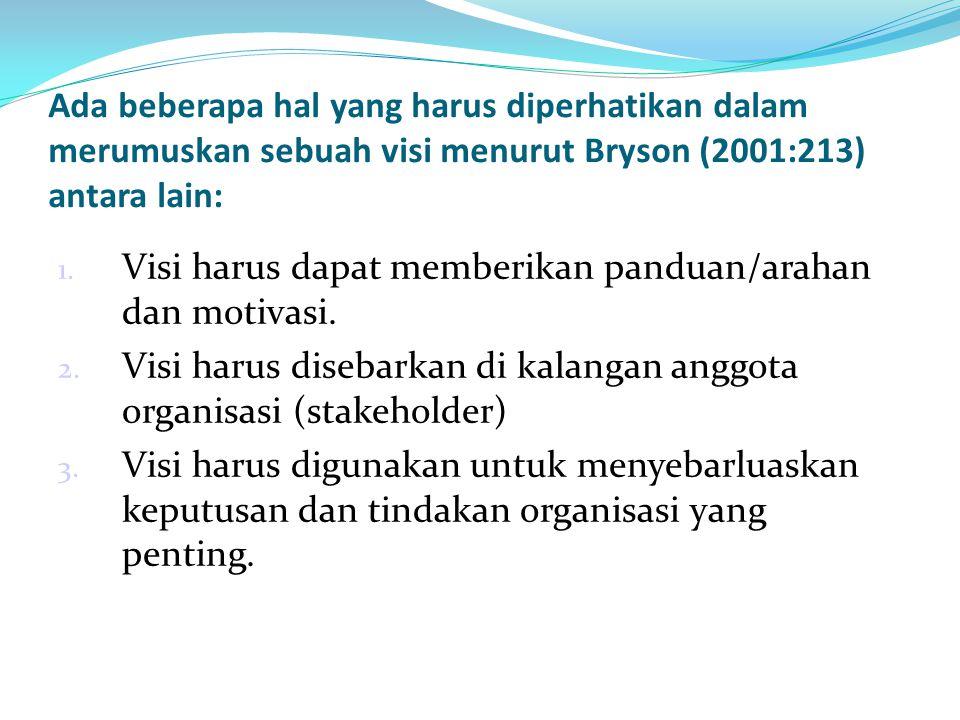 Ada beberapa hal yang harus diperhatikan dalam merumuskan sebuah visi menurut Bryson (2001:213) antara lain: 1. Visi harus dapat memberikan panduan/ar