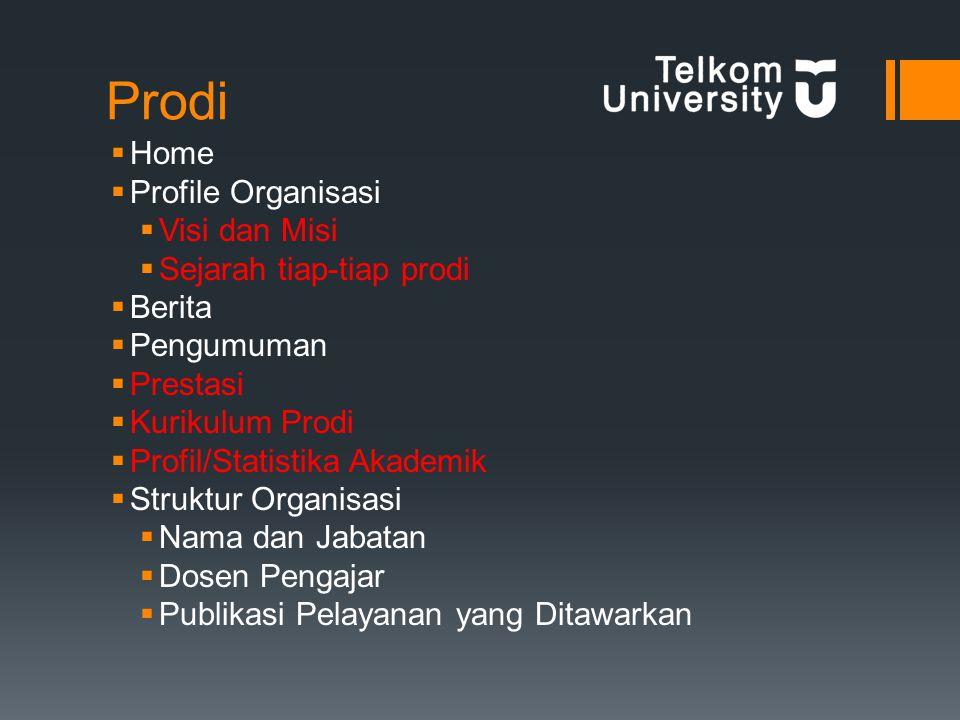 Prodi  Home  Profile Organisasi  Visi dan Misi  Sejarah tiap-tiap prodi  Berita  Pengumuman  Prestasi  Kurikulum Prodi  Profil/Statistika Akademik  Struktur Organisasi  Nama dan Jabatan  Dosen Pengajar  Publikasi Pelayanan yang Ditawarkan