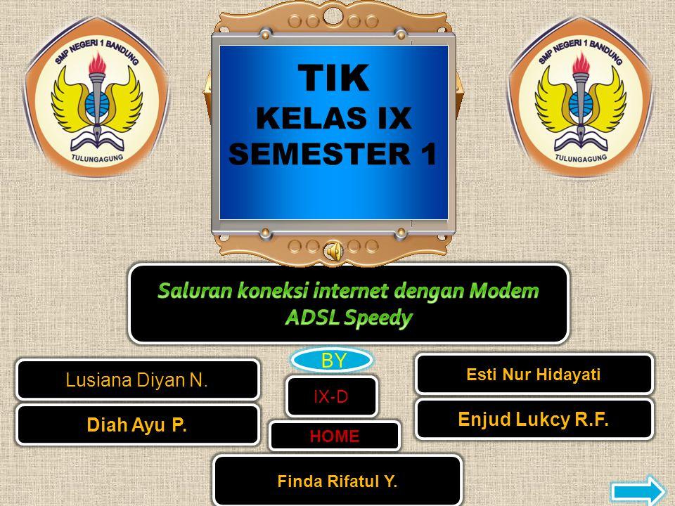 TIK KELAS IX SEMESTER 1 Lusiana Diyan N.HOME Diah Ayu P.