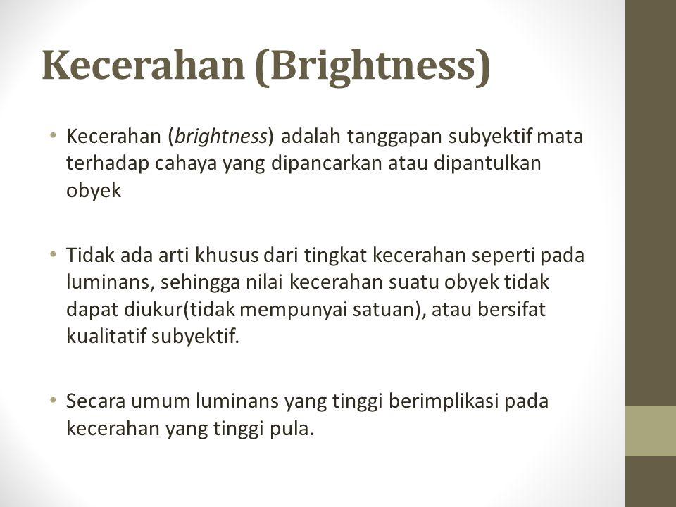 Kecerahan (Brightness) Kecerahan (brightness) adalah tanggapan subyektif mata terhadap cahaya yang dipancarkan atau dipantulkan obyek Tidak ada arti khusus dari tingkat kecerahan seperti pada luminans, sehingga nilai kecerahan suatu obyek tidak dapat diukur(tidak mempunyai satuan), atau bersifat kualitatif subyektif.
