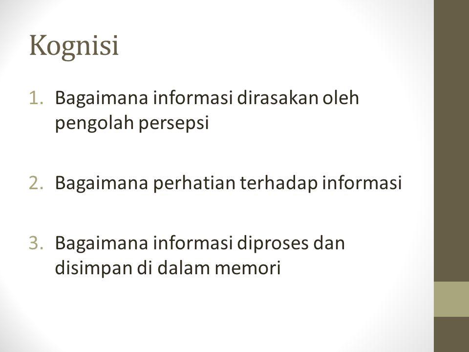 Kognisi 1.Bagaimana informasi dirasakan oleh pengolah persepsi 2.Bagaimana perhatian terhadap informasi 3.Bagaimana informasi diproses dan disimpan di