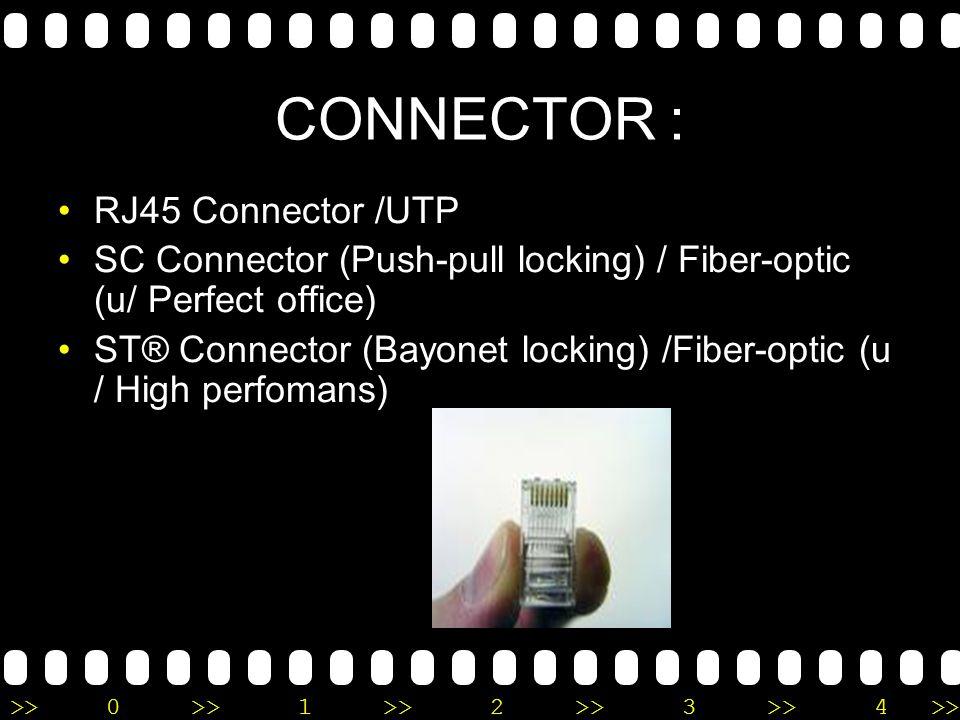 >>0 >>1 >> 2 >> 3 >> 4 >> 1. KABEL Kabel UTP Kabel Coaxial & onnector BNC Fiber optik