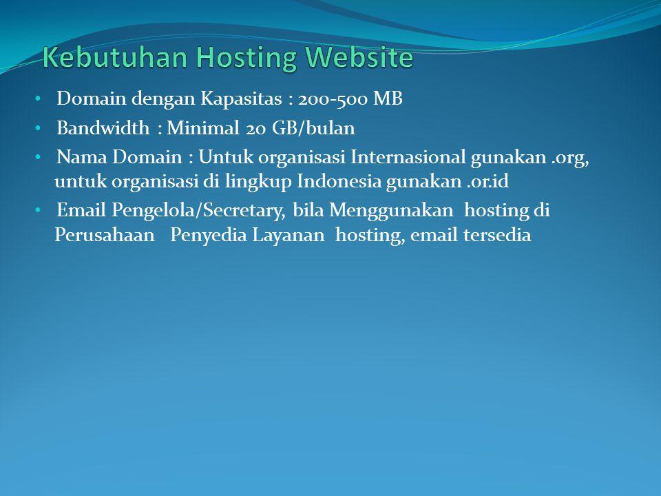 Domain dengan Kapasitas : 200-500 MB Bandwidth : Minimal 20 GB/bulan Nama Domain : Untuk organisasi Internasional gunakan.org, untuk organisasi di lin