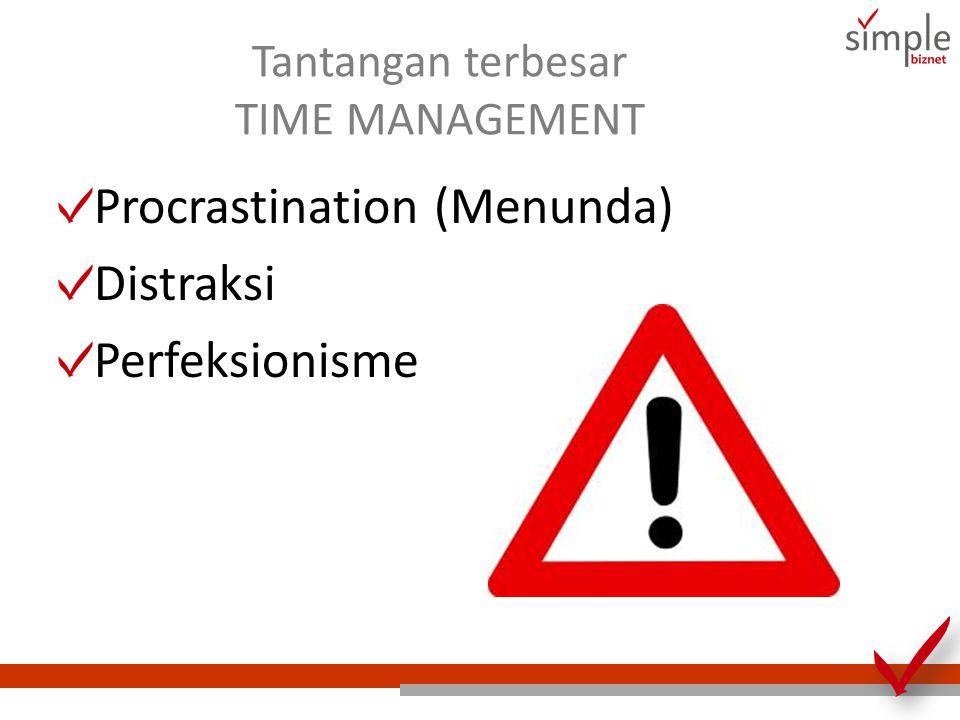 Tantangan terbesar TIME MANAGEMENT Procrastination (Menunda) Distraksi Perfeksionisme