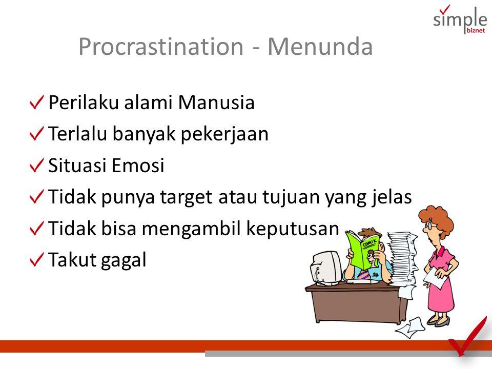 Procrastination - Menunda Perilaku alami Manusia Terlalu banyak pekerjaan Situasi Emosi Tidak punya target atau tujuan yang jelas Tidak bisa mengambil keputusan Takut gagal