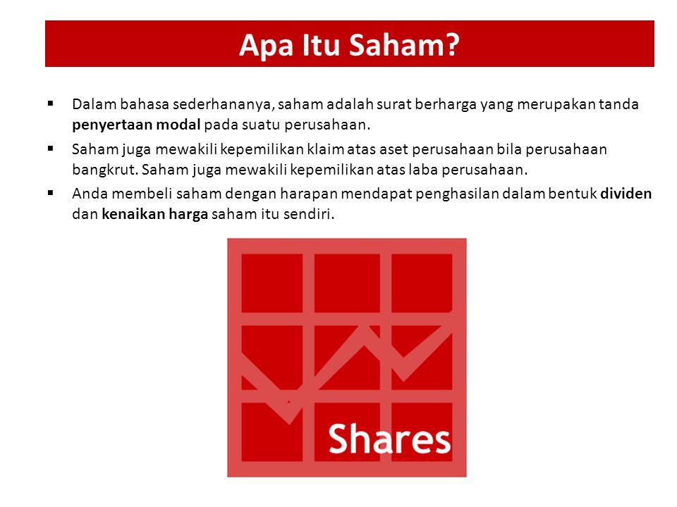  Dalam bahasa sederhananya, saham adalah surat berharga yang merupakan tanda penyertaan modal pada suatu perusahaan.  Saham juga mewakili kepemilika