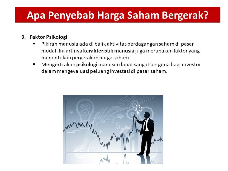 3.Faktor Psikologi:  Pikiran manusia ada di balik aktivitas perdagangan saham di pasar modal. Ini artinya karakteristik manusia juga merupakan faktor