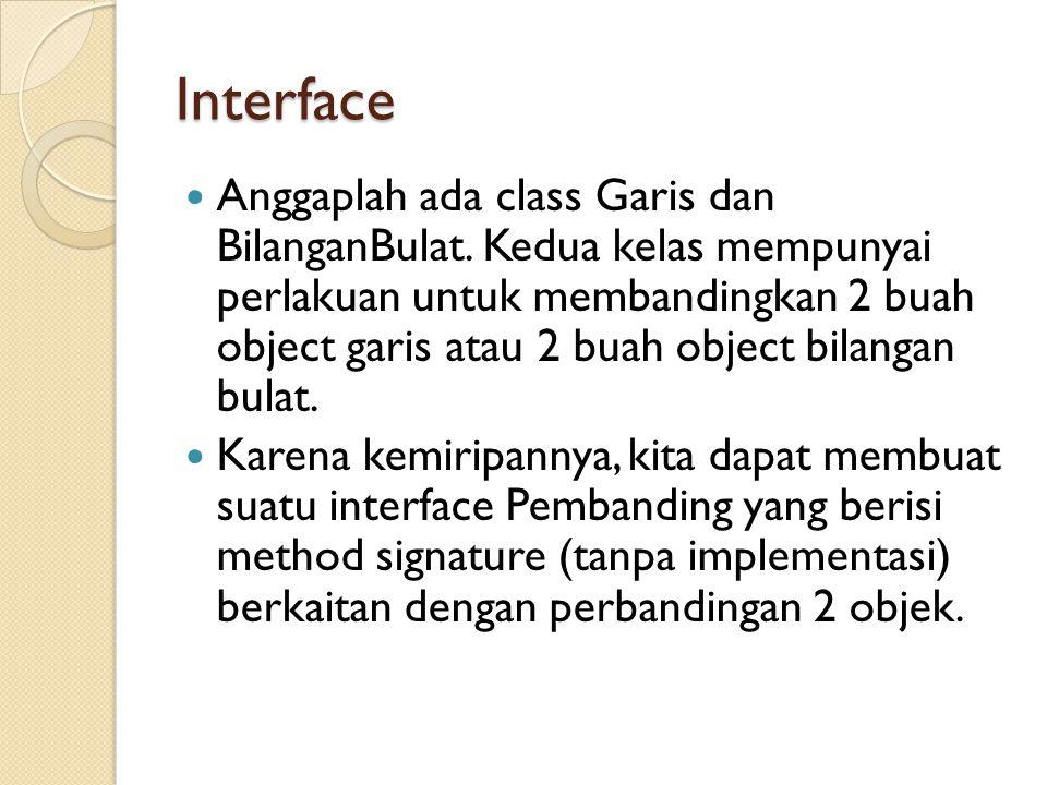 Interface Anggaplah ada class Garis dan BilanganBulat.