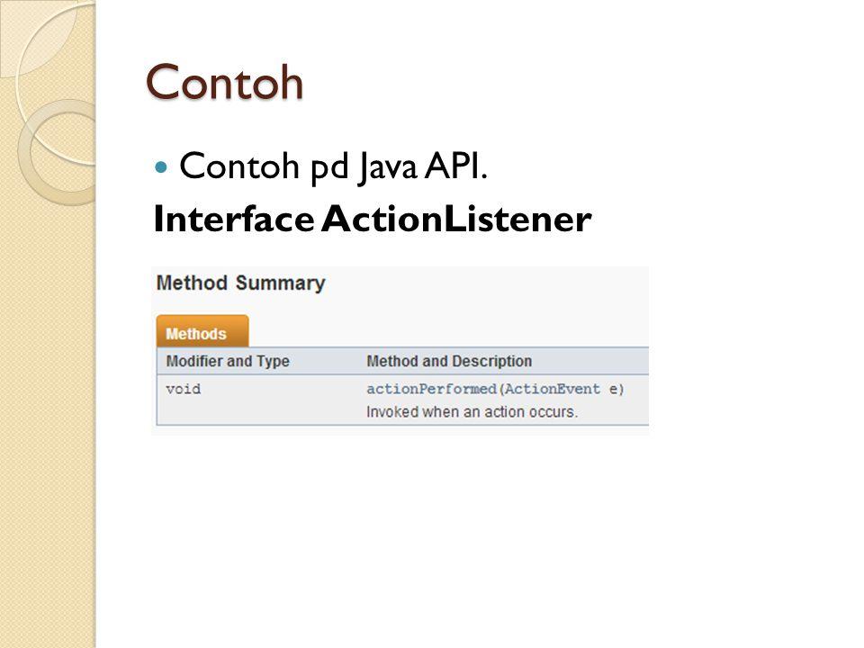 Contoh Contoh pd Java API. Interface ActionListener