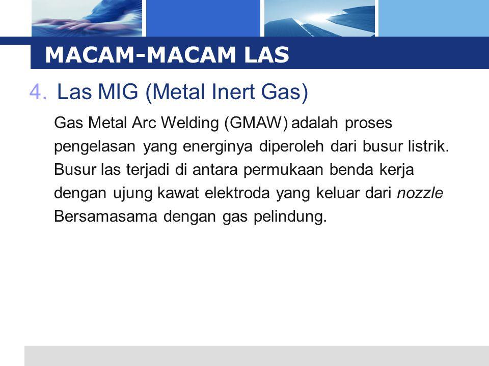 L o g o 4.Las MIG (Metal Inert Gas) MACAM-MACAM LAS Gas Metal Arc Welding (GMAW) adalah proses pengelasan yang energinya diperoleh dari busur listrik.