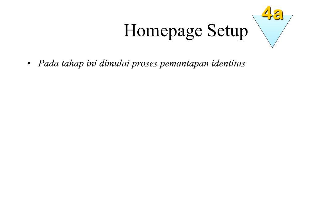 Homepage Setup Pada tahap ini dimulai proses pemantapan identitas 4a