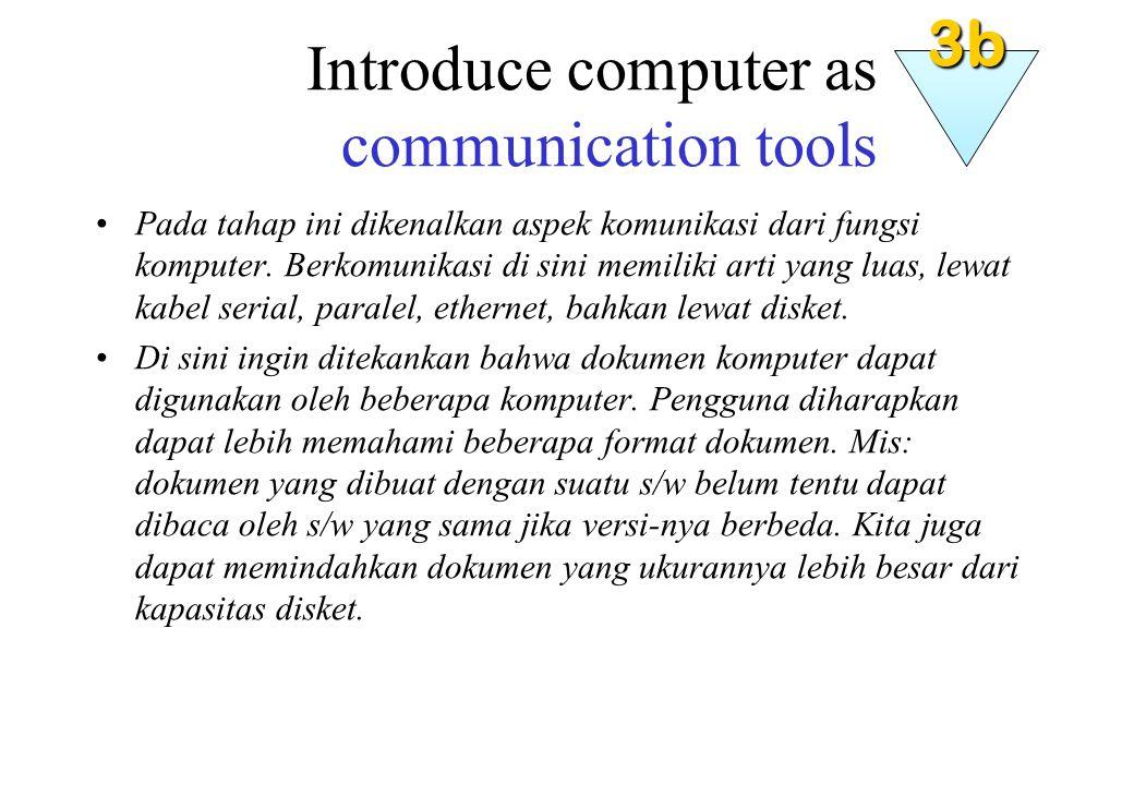 Introduce computer as communication tools Pada tahap ini dikenalkan aspek komunikasi dari fungsi komputer.