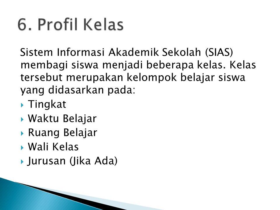 Sistem Informasi Akademik Sekolah (SIAS) membagi siswa menjadi beberapa kelas. Kelas tersebut merupakan kelompok belajar siswa yang didasarkan pada: 