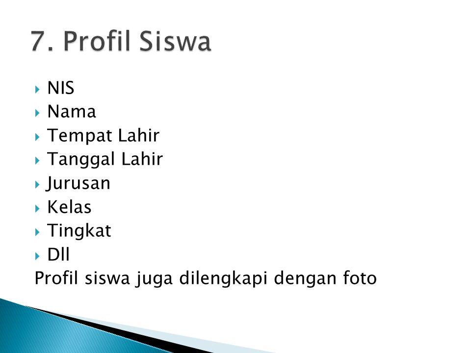 NIS  Nama  Tempat Lahir  Tanggal Lahir  Jurusan  Kelas  Tingkat  Dll Profil siswa juga dilengkapi dengan foto