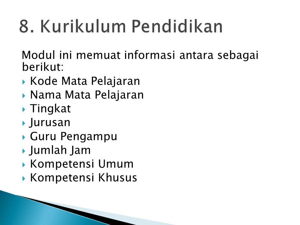 Modul ini memuat informasi antara sebagai berikut:  Kode Mata Pelajaran  Nama Mata Pelajaran  Tingkat  Jurusan  Guru Pengampu  Jumlah Jam  Kompetensi Umum  Kompetensi Khusus