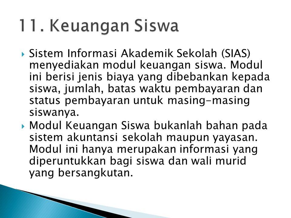  Sistem Informasi Akademik Sekolah (SIAS) menyediakan modul keuangan siswa. Modul ini berisi jenis biaya yang dibebankan kepada siswa, jumlah, batas
