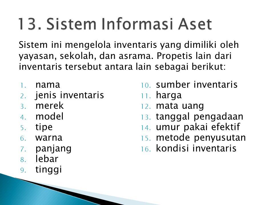 1. nama 2. jenis inventaris 3. merek 4. model 5. tipe 6. warna 7. panjang 8. lebar 9. tinggi 10. sumber inventaris 11. harga 12. mata uang 13. tanggal