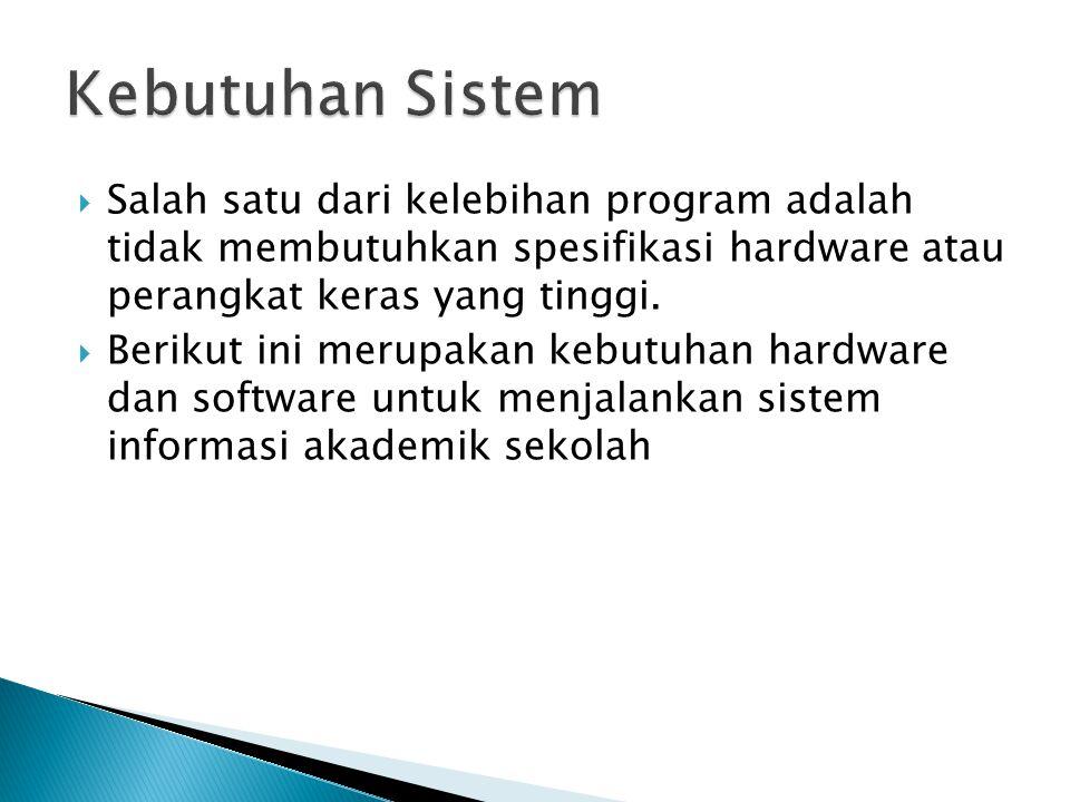  Salah satu dari kelebihan program adalah tidak membutuhkan spesifikasi hardware atau perangkat keras yang tinggi.  Berikut ini merupakan kebutuhan