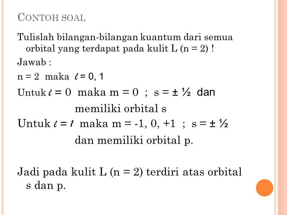 3. B ILANGAN KUANTUM MAGNETIK Menentukan arah orientasi dari orbital. Memiliki harga m = - l,...,0,...,+ l. Untuk l = 0 maka nilai m = 0 Untuk l = 1 m