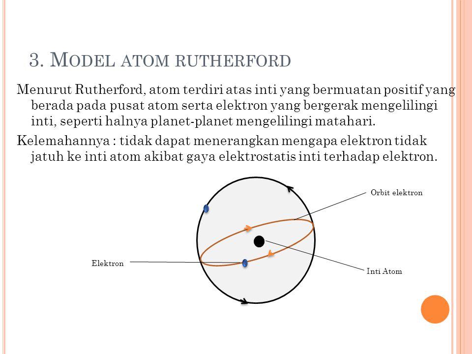2. M ODEL ATOM THOMSON Thomson mengemukakan bahwa atom tersusun dari elektron-elektron yang tersebar secara merata dalam bola bermuatan positif, keada