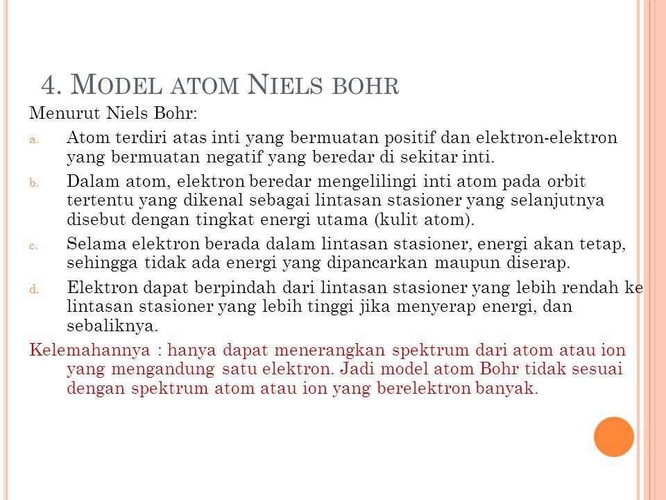 3. M ODEL ATOM RUTHERFORD Menurut Rutherford, atom terdiri atas inti yang bermuatan positif yang berada pada pusat atom serta elektron yang bergerak m