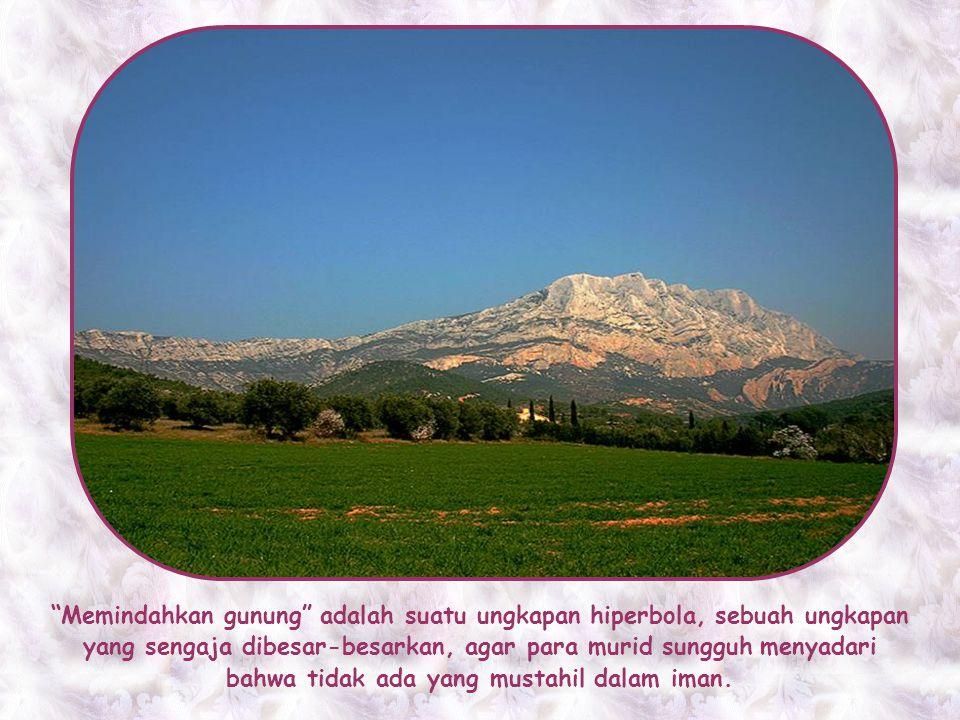 Memindahkan gunung adalah suatu ungkapan hiperbola, sebuah ungkapan yang sengaja dibesar-besarkan, agar para murid sungguh menyadari bahwa tidak ada yang mustahil dalam iman.