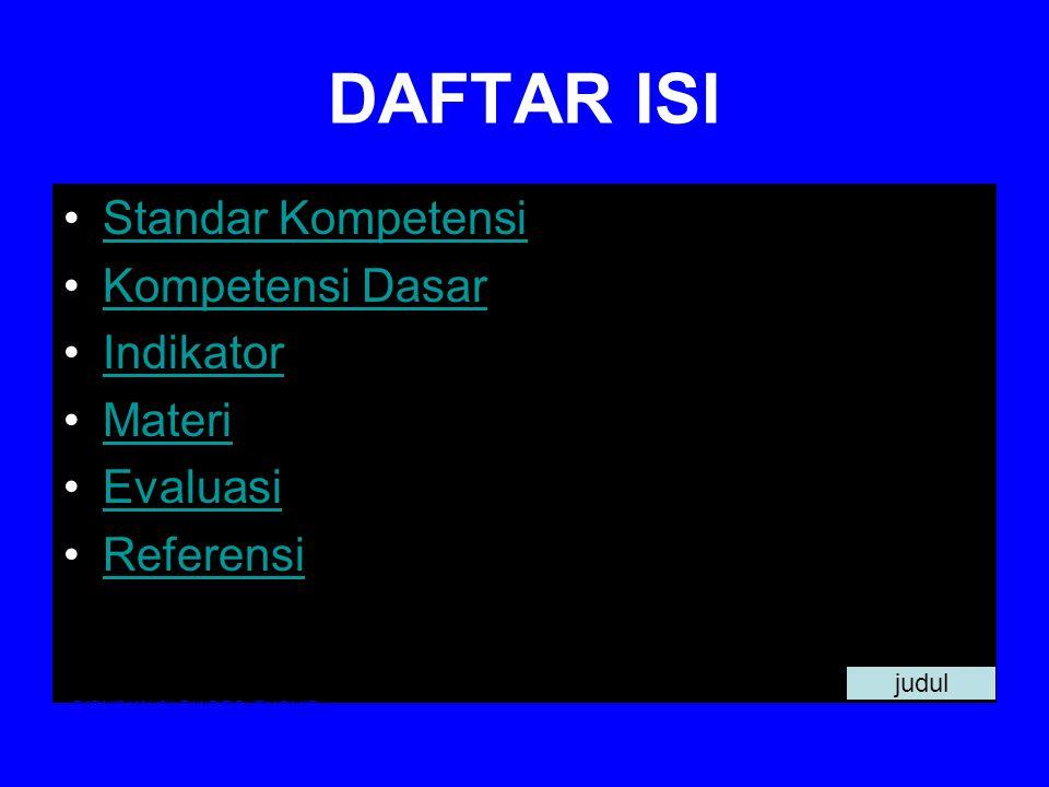 DAFTAR ISI Standar Kompetensi Kompetensi Dasar Indikator Materi Evaluasi Referensi DISUSUN OLEH DRS.